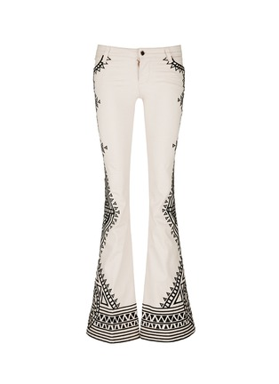 Main View - Click To Enlarge - alice + olivia - 'Ryley' tribal embroidery flare jeans