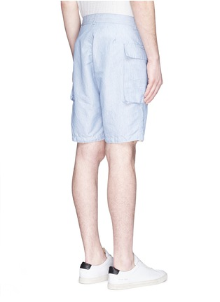 Back View - Click To Enlarge - nanamica - Stripe dobby cargo shorts