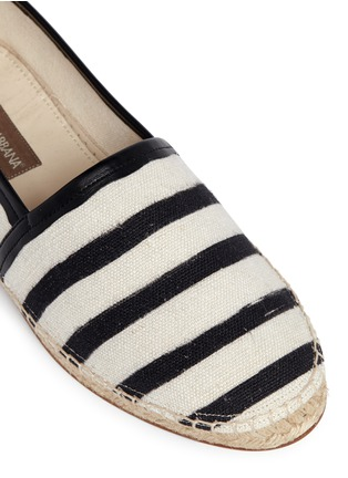 Detail View - Click To Enlarge - - - Stripe leather trim espadrille slip-ons