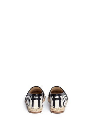 Back View - Click To Enlarge - - - Stripe leather trim espadrille slip-ons