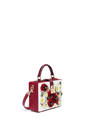 Figure View - Click To Enlarge - - - 'Daisy' crystal floral appliqué Dauphine leather box bag