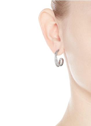 Figure View - Click To Enlarge - Maison Margiela Fine Jewellery - 'Anamorphose' diamond 18k white gold twisted earrings