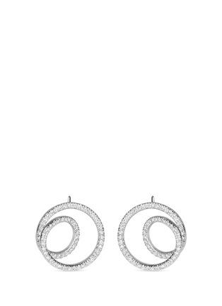 Main View - Click To Enlarge - MAISON MARGIELA FINE JEWELLERY - 'Anamorphose' diamond 18k white gold small twisted earrings