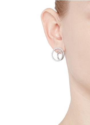 Figure View - Click To Enlarge - MAISON MARGIELA FINE JEWELLERY - 'Anamorphose' diamond 18k white gold small twisted earrings
