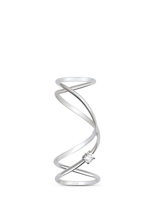Main View - Click To Enlarge - Maison Margiela Fine Jewellery - 'Anamorphose' diamond 18k white gold twisted long ring