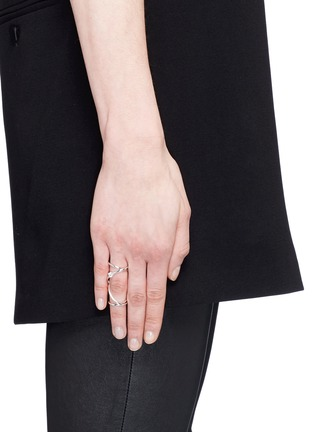 Figure View - Click To Enlarge - Maison Margiela Fine Jewellery - 'Anamorphose' diamond 18k white gold twisted long ring