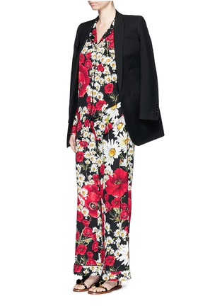 Figure View - Click To Enlarge - Dolce & Gabbana - Floral print silk charmeuse pyjama shirt