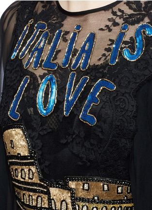 Detail View - Click To Enlarge - Dolce & Gabbana - 'Italia is Love' Colosseum embellished chiffon gown