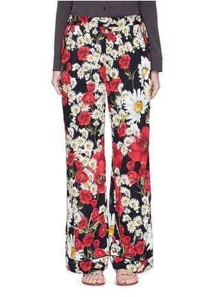 Main View - Click To Enlarge - Dolce & Gabbana - Mix daisy poppy print silk pyjama pants