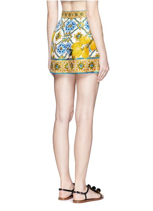 Back View - Click To Enlarge - Dolce & Gabbana - Maiolica flower print silk twill shorts