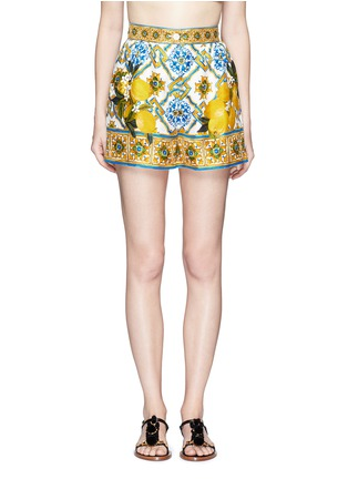 Main View - Click To Enlarge - Dolce & Gabbana - Maiolica flower print silk twill shorts