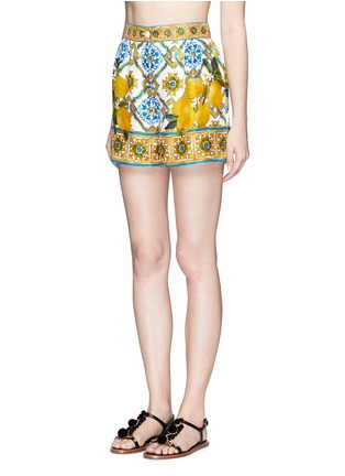 Figure View - Click To Enlarge - Dolce & Gabbana - Maiolica flower print silk twill shorts