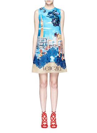 Main View - Click To Enlarge - Dolce & Gabbana - 'Venezia' postcard print embroidery silk dress