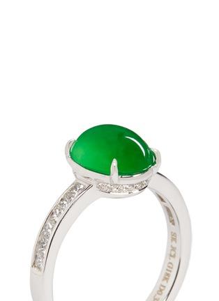 Detail View - Click To Enlarge - Samuel Kung - Jade cabochon diamond 18k white gold ring