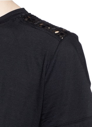 Detail View - Click To Enlarge - Valentino - San Gallo lace back jersey T-shirt