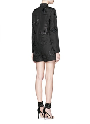 Back View - Click To Enlarge - Valentino - 'Camubutterfly Noir' embroidery cotton romper