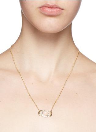 Detail View - Click To Enlarge - Pamela Love - 'Luna Crescent' diamond pavé opal cabochon 18k gold necklace