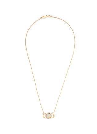 Main View - Click To Enlarge - Pamela Love - 'Luna Crescent' diamond pavé opal cabochon 18k gold necklace