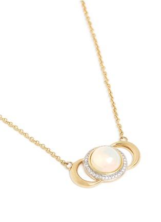 Figure View - Click To Enlarge - Pamela Love - 'Luna Crescent' diamond pavé opal cabochon 18k gold necklace