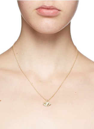 Detail View - Click To Enlarge - Pamela Love - 'Oculus' diamond 18k gold eye pendant necklace