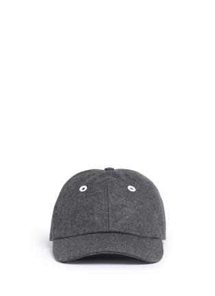 Main View - Click To Enlarge - Moncler - Logo appliqué wool flannel cap