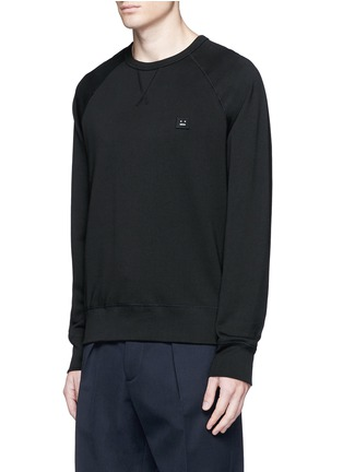 Front View - Click To Enlarge - ACNE STUDIOS - 'College Face' emoji patch cotton sweatshirt