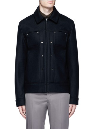 Main View - Click To Enlarge - ACNE STUDIOS - 'Metal' eyelet wool blend melton shirt jacket