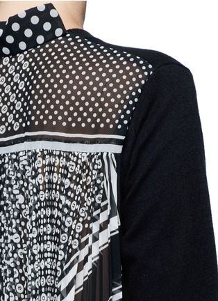 Detail View - Click To Enlarge - Sacai - Dot scarf print pleated back knit top