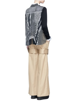 Figure View - Click To Enlarge - Sacai - Dot scarf print pleated back knit top
