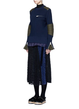Figure View - Click To Enlarge - Sacai - Pleated guipure lace wrap midi skirt