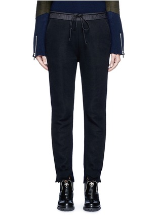 Main View - Click To Enlarge - SACAI - Wool-cashmere knit back jogging pants