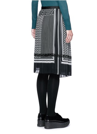 Back View - Click To Enlarge - Sacai - Dot scarf print pleated wrap midi skirt