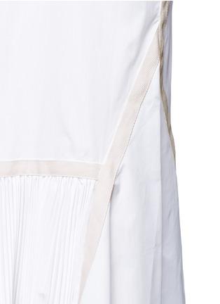Detail View - Click To Enlarge - Sacai - Velvet collar plissé pleat skirt poplin dress