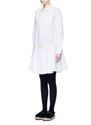 Front View - Click To Enlarge - Sacai - Velvet collar plissé pleat skirt poplin dress