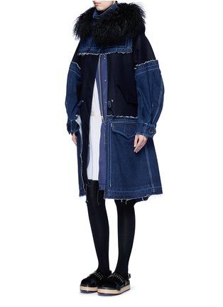 Figure View - Click To Enlarge - Sacai - Velvet collar plissé pleat skirt poplin dress