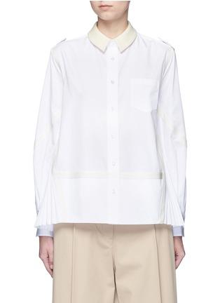 Main View - Click To Enlarge - SACAI - Side pleat webbing strap shirt