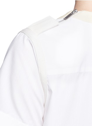 Detail View - Click To Enlarge - Sacai - Herringbone trim velvet neck pleat poplin top
