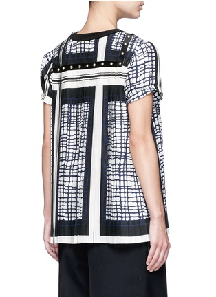 Back View - Click To Enlarge - Sacai - Grid check stud trim pleated top