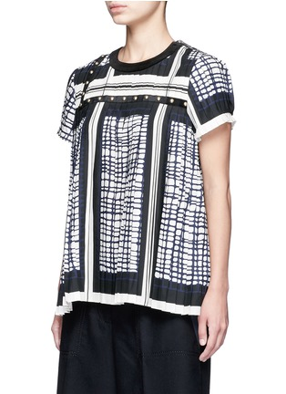 Front View - Click To Enlarge - Sacai - Grid check stud trim pleated top
