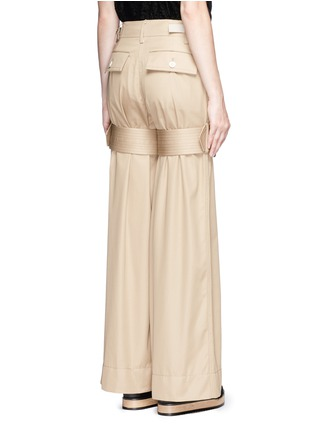 Back View - Click To Enlarge - Sacai - Strap cotton gabardine flared pants