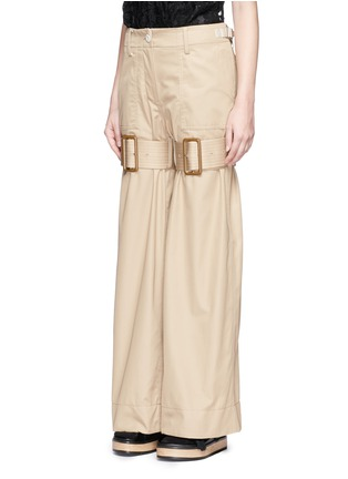 Front View - Click To Enlarge - Sacai - Strap cotton gabardine flared pants