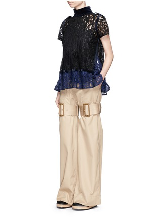 Figure View - Click To Enlarge - Sacai - Strap cotton gabardine flared pants
