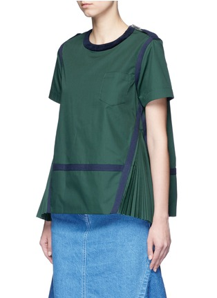 Front View - Click To Enlarge - Sacai - Herringbone trim velvet neck pleat poplin top
