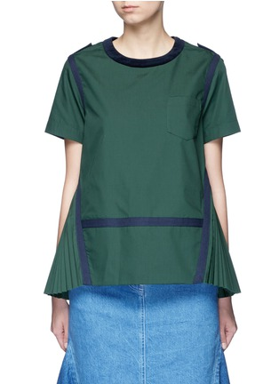 Main View - Click To Enlarge - Sacai - Herringbone trim velvet neck pleat poplin top