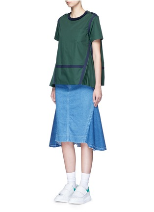 Figure View - Click To Enlarge - Sacai - Herringbone trim velvet neck pleat poplin top
