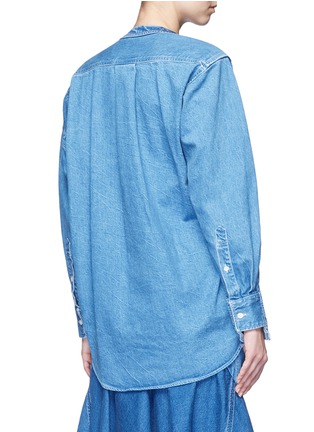 Back View - Click To Enlarge - Sacai - 'Runway' raw edge denim patchwork top