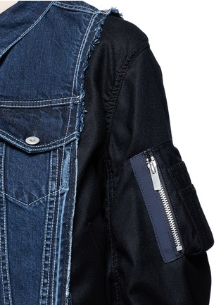 Detail View - Click To Enlarge - Sacai - Denim front flannel jacket