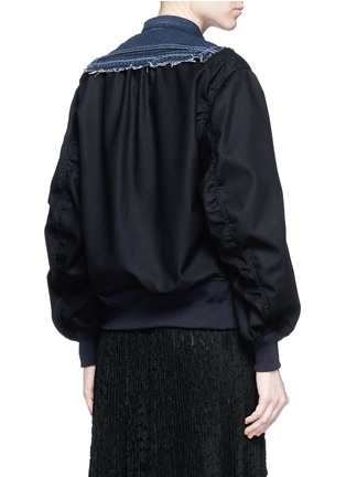 Back View - Click To Enlarge - SACAI - Denim front flannel jacket