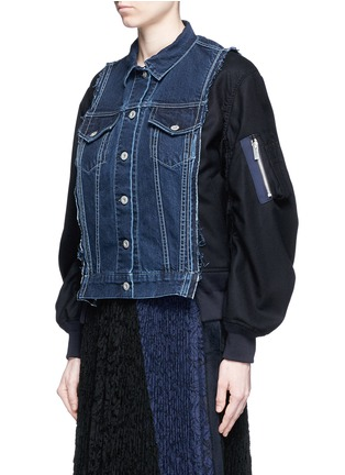Front View - Click To Enlarge - SACAI - Denim front flannel jacket