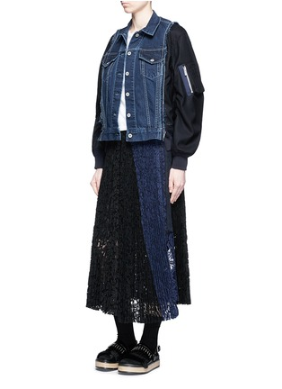Figure View - Click To Enlarge - Sacai - Denim front flannel jacket
